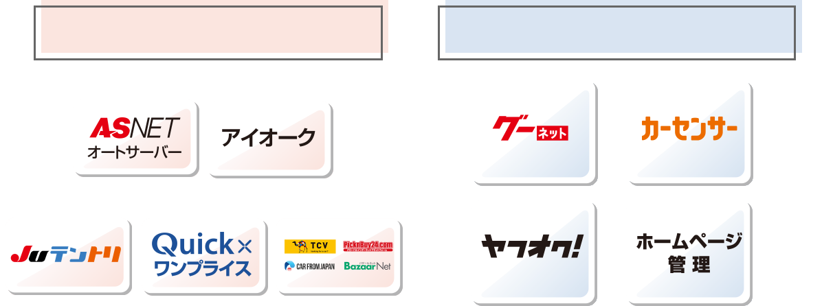 ASNETオートサーバー/アイオーク/Juテントリ/Quickxワンプライス/TCV/PicknBuy24.com/CAR FROM JAPAN/BazaarNet/グーネット/カーセンサー/ヤフオク!/ホームページ管理